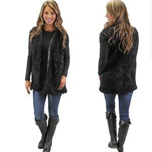 Large Black Faux Fur Vest